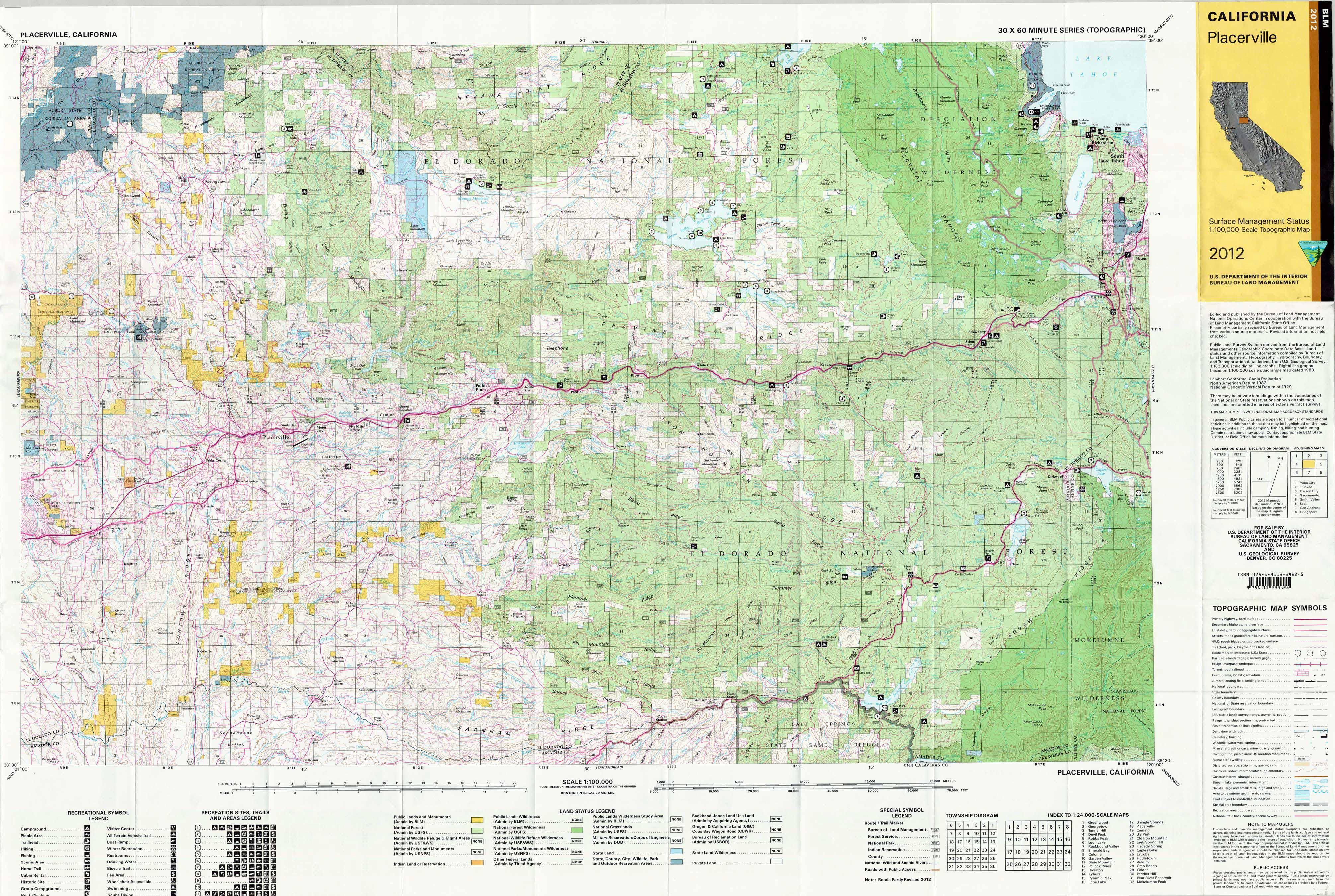 Placerville California Map.Placerville California Blm Surface Management Maps Zegold