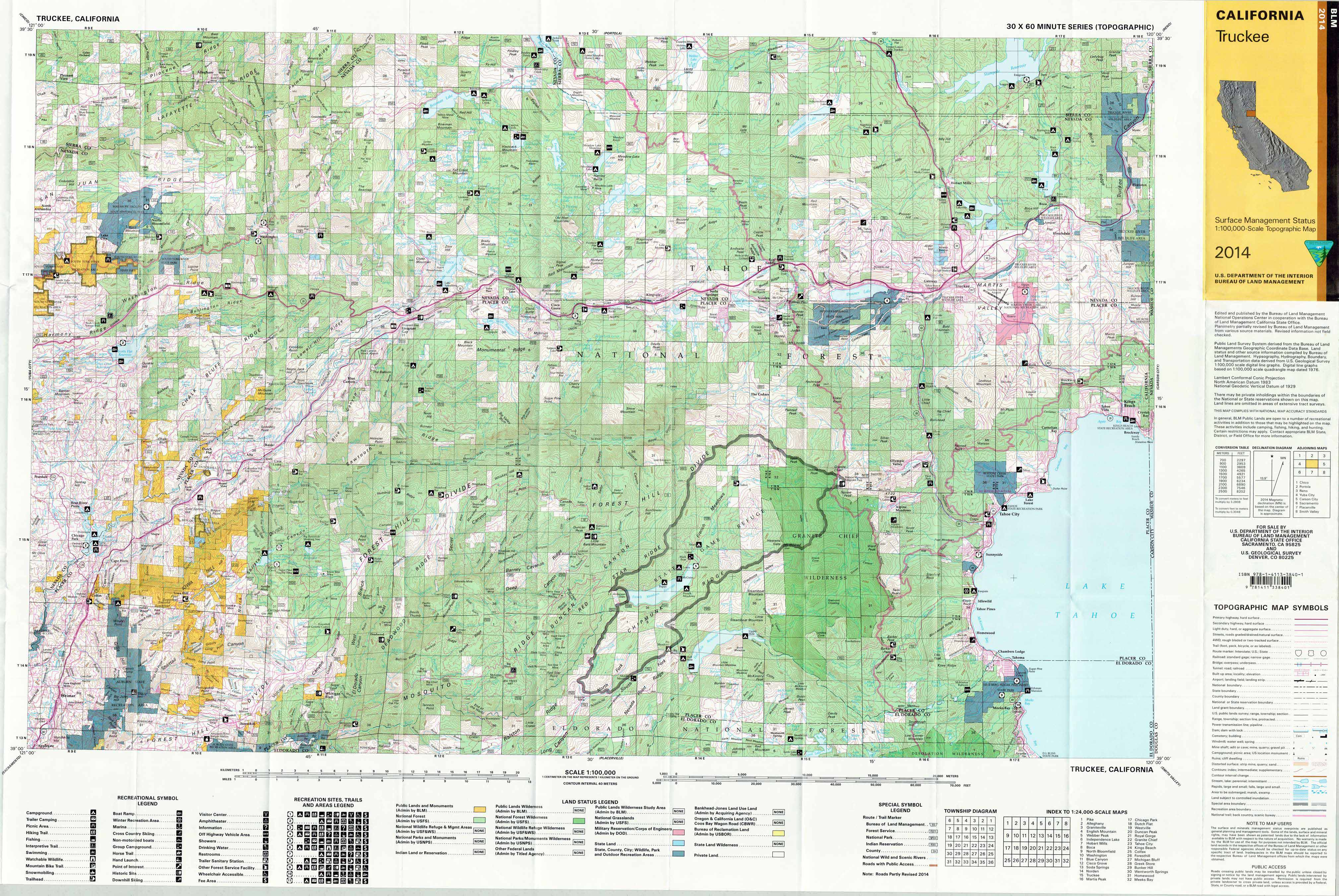 Truckee California Blm Surface Management Maps Zegold
